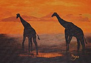 Raw Sienna Art - Two by Two by Barbara Hayes