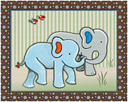 Noah Framed Prints - Two-by-Two Elephants Framed Print by Cheryl Lubben