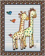 Noah Framed Prints - Two-by-Two Giraffes Framed Print by Cheryl Lubben