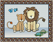 Noah Framed Prints - Two-by-Two Lions Framed Print by Cheryl Lubben