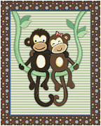 Noah Framed Prints - Two-by-Two Monkeys Framed Print by Cheryl Lubben