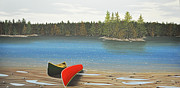 Portage Prints - Two Canoes Print by Kenneth M  Kirsch