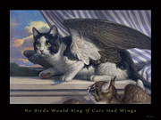 Sam Yeates Paintings - Two Cats and a Blue Jay Feather by Sam Yeates