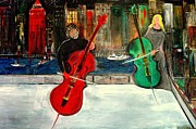 Rick Todaro Prints - Two  Cello Players  Rooftop  Print by Rick Todaro