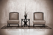 Lounge Posters - Two chairs and a table with a plant  Poster by Rudy Umans