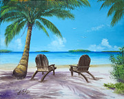 Beach Scene Paintings - Two Chairs On The Beach by Earl Butch Curtis