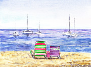 Sailboat Ocean Painting Originals - Two Chairs On The Beach by Irina Sztukowski