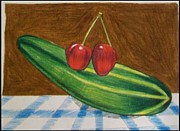 Ironic Drawings Originals - Two cherries with cucumber. by Jonathan Osman