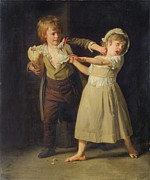 Famous Artists - Two Children fighting over a Piece of Bread by Henri-Pierre Danloux