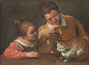 Famous Artists - Two Children Teasing a Cat by Annibale Carracci