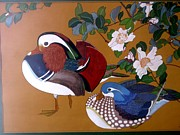 Ducks Paintings - Two Chinese Ducks by Amanda Stagnetto