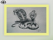 Animals Drawings Posters - Two Cobras Poster by Jeffrey Jefferson