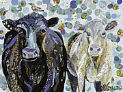Two Animals Mixed Media Posters - Two Cows and a Bird Poster by Beth Watkins