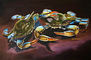 Blue Crab Paintings - Two Crabs by Phyllis Beiser