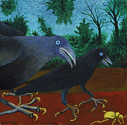 Crows Paintings - Two Crows and a Beetle 2013 by Brent Birney-Hintz
