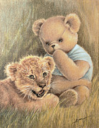 Lion Drawings Framed Prints - Two Cubs Framed Print by Ethel Quelland