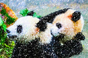Love The Animal Painting Prints - Two cute panda Print by Lanjee Chee