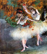 Ballet Dancers Painting Posters - Two Dancers entering the scene Poster by Pg Reproductions