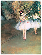 Ballerinas Posters - Two Dancers on a Stage Poster by Edgar Degas