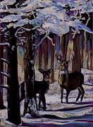 Tilly Strauss Mixed Media Metal Prints - Two deer in snow in woods Metal Print by Tilly Strauss