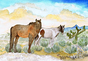 Mustang Paintings - Two Desert Veterans by Michele Ross