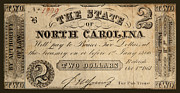 Signed Photo Posters - Two Dollars The State of North Carolina 1861 Poster by John Stephens