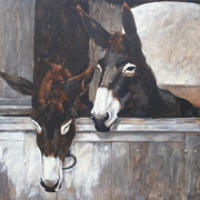 Great Outdoors Paintings - Two donkeys by Anke Classen