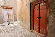 Traditional Doors Metal Prints - Two Doors in the Old Town of Kashgar Metal Print by Robert Preston