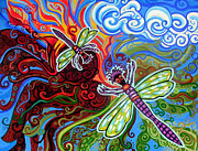 Green Movement Art - Two Dragonflies by Genevieve Esson
