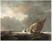 Sea Vessels Framed Prints - Two Dutch Vessels Close-Hauled in a Strong Breeze Framed Print by Willem van de Velde the Younger