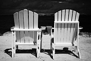 Empty Chairs Prints - Two Empty Sun Loungers On Private Beach Islamorada Florida Keys Usa Print by Joe Fox