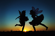 Faries Prints - Two Fairies Kicking Up Some Fairy Dust Print by Kriss Russell