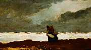 Two Waves Framed Prints - Two Figures By The Sea Framed Print by Winslow Homer