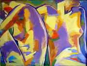 Vibrant Colors Framed Prints - Two Figures Framed Print by Helena Wierzbicki
