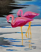 Waterfowl Paintings - Two Flamingos in Acrylic by Janice Rae Pariza