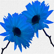 Lyman Loveland - Two Flowers - Blue