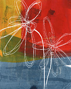 Yellow Line Mixed Media Prints - Two Flowers Print by Linda Woods