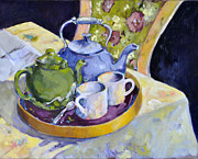 Teapot Paintings - Two for Tea by De Selby