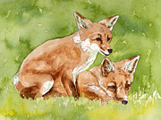 Cubs Painting Originals - Two fox cubs watercolor by Cherilynn Wood