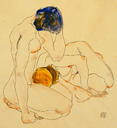 Bust Painting Posters - Two Friends Poster by Egon Schiele
