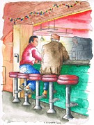 Indoors Originals - Two friends in a Farmers Market bar - Los Angeles - California by Carlos G Groppa