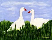 Moignard Prints - Two Geese Print by Barbara Moignard