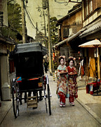 Traditional Clothing Framed Prints - Two Geishas and a Buggy Framed Print by Juli Scalzi
