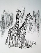 Drawn Mixed Media Prints - Two Giraffes in Graphite Print by Janice Rae Pariza
