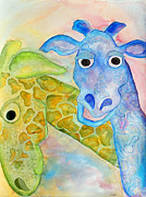 Patterned Drawings Metal Prints - Two Giraffes Metal Print by Shannan Peters
