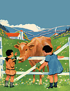 Barn Painter Posters - Two Girls and Cow Poster by The  Vault