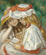 Little Girls Digital Art - Two Girls Reading by Renoir