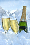 Sparkling Wine Framed Prints - Two glasses of champagne with bottle in snow Framed Print by Sandra Cunningham