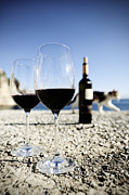 Red Cat Wine Prints - Two glasses of red wine at the sea Print by Ina Peters