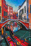Facades Painting Posters - Two Gondolas In Venice Poster by EMONA Art